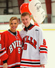 Baldwinsville Bees David Marsell (9) with his teacher, Mrs. Price, on Teacher Appreciation Night at the Greater Baldwinsville Ice Arena in Baldwinsville, New York.
