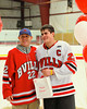 Baldwinsville Bees Matt Zandri (22) with his teacher, Coach Jackson, on Teacher Appreciation Night at the Greater Baldwinsville Ice Arena in Baldwinsville, New York.