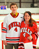 Baldwinsville Bees Jeremy Cook (4) with his teacher, Mrs. Wise, on Teacher Appreciation Night at the Greater Baldwinsville Ice Arena in Baldwinsville, New York.