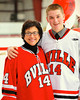 Baldwinsville Bees Charlie McAllister (14) with his teacher, Madame Gulliet, on Teacher Appreciation Night at the Greater Baldwinsville Ice Arena in Baldwinsville, New York.
