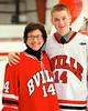 Baldwinsville Bees Charlie McAllister (14) with his teacher, Madame Gulliet, on Teacher Appreciation Night at the Greater Baldwinsville Ice Arena in Baldwinsville, New York.
