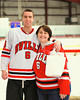 Baldwinsville Bees Ronnie Bertrand (6) with his teacher, Mrs. Road, on Teacher Appreciation Night at the Greater Baldwinsville Ice Arena in Baldwinsville, New York.