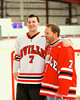 Baldwinsville Bees Parker Ferrigan (7) with his teacher, Mr. Foriero, on Teacher Appreciation Night at the Greater Baldwinsville Ice Arena in Baldwinsville, New York.