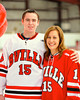 Baldwinsville Bees Charlie Bertrand (15) with his teacher, Mrs. Blasczienski, on Teacher Appreciation Night at the Greater Baldwinsville Ice Arena in Baldwinsville, New York.