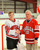 Baldwinsville Bees Dave Mazurkiewicz (10) with his teacher, Mr. Glisson, on Teacher Appreciation Night at the Greater Baldwinsville Ice Arena in Baldwinsville, New York.