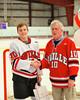 Baldwinsville Bees Dave Mazurkiewicz (10) with his teacher, Mr. Glisson, on Teacher Appreciation Night at the Greater Baldwinsville Ice Arena in Baldwinsville, New York.