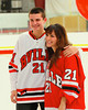 Baldwinsville Bees Truman Strodel (21) with his teacher, Mrs. Gates, on Teacher Appreciation Night at the Greater Baldwinsville Ice Arena in Baldwinsville, New York.