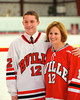 Baldwinsville Bees Sean Barron (12) with his teacher, Ms. Fox, on Teacher Appreciation Night at the Greater Baldwinsville Ice Arena in Baldwinsville, New York.