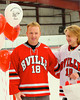 Baldwinsville Bees Garrett Gray (18) with his teacher, Mr. Galvin, on Teacher Appreciation Night at the Greater Baldwinsville Ice Arena in Baldwinsville, New York.