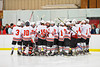 Baldwinsville Bees huddle up before playing the Watertown IHC Cavaliers at the Greater Baldwinsville Ice Arena in Baldwinsville, New York.  Baldwinsville won 6-0.