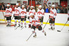 Baldwinsville Bees Senior Matthew Colclough (5) being introduced before playing the Watertown IHC Cavaliers at the Greater Baldwinsville Ice Arena in Baldwinsville, New York.  Baldwinsville won 6-0.
