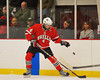 Baldwinsville Bees Jeremy Cook (4) knocks the puck down with this glove against the Syracuse Cougars at the Meachem Ice Rink in Syracuse, New York on Thursday, February 13, 2014.  Syracuse won in triple overtime 2-1. © Scott Thomas Photography