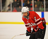 Baldwinsville Bees Luke McCaffrey (2) before a face-off against the Syracuse Cougars at the Meachem Ice Rink in Syracuse, New York on Thursday, February 13, 2014.  Syracuse won in triple overtime 2-1. © Scott Thomas Photography