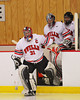 Baldwinsville Bees goalie Nick Harper (31) leads his team on the ice against the Liverpool Warriors before the second period at the Greater Baldwinsville Ice Arena in Baldwinsville, New York on Tuesday, January 21, 2014.  Liverpool won 3-1.