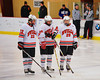 Baldwinsville Bees players Matt Monaco (22), Mike Schneid (20) and Matt Abbott (29) during pre-game introductions before playing the Rome Free Academy Black Knights at the Greater Baldwinsville Ice Arena in Baldwinsville, New York on Tuesday, January 28, 2014.  RFA won 4-2.