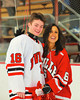 Baldwinsville Bees Carson Hayes (16) with his teacher, Mrs. McCaffrey, on Teacher Appreciation Night at the Greater Baldwinsville Ice Arena in Baldwinsville, New York on Tuesday, January 12, 2014.