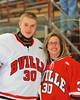 Baldwinsville Bees Matt Sabourin (30) with his teacher, Mrs. Schumacher, on Teacher Appreciation Night at the Greater Baldwinsville Ice Arena in Baldwinsville, New York on Tuesday, January 12, 2014.