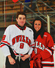 Baldwinsville Bees Riley Smith (8) with his teacher, Mrs. Hirschey, on Teacher Appreciation Night at the Greater Baldwinsville Ice Arena in Baldwinsville, New York on Tuesday, January 12, 2014.