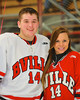 Baldwinsville Bees Charlie McAllister (14) with his teacher, Mrs. Price, on Teacher Appreciation Night at the Greater Baldwinsville Ice Arena in Baldwinsville, New York on Tuesday, January 12, 2014.
