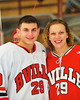 Baldwinsville Bees Matt Abbott (29) with his teacher, Mrs. Meany, on Teacher Appreciation Night at the Greater Baldwinsville Ice Arena in Baldwinsville, New York on Tuesday, January 12, 2014.