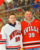 Baldwinsville Bees Michael Patterson-Jones (39) with his teacher, Mr. Bick, on Teacher Appreciation Night at the Greater Baldwinsville Ice Arena in Baldwinsville, New York on Tuesday, January 12, 2014.