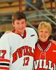 Baldwinsville Bees James Pelcher (17) with his teacher, Mrs. Ryan, on Teacher Appreciation Night at the Greater Baldwinsville Ice Arena in Baldwinsville, New York on Tuesday, January 12, 2014.