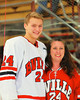 Baldwinsville Bees Andy Rossler (24) with his teacher, Mrs. Wise, on Teacher Appreciation Night at the Greater Baldwinsville Ice Arena in Baldwinsville, New York on Tuesday, January 12, 2014.
