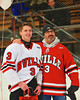 Baldwinsville Bees Alex Paterson-Jones (3) with his teacher, Mr. Cartier, on Teacher Appreciation Night at the Greater Baldwinsville Ice Arena in Baldwinsville, New York on Tuesday, January 12, 2014.