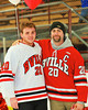 Baldwinsville Bees Mike Schneid (20) with his teacher, Mr. Deemer, on Teacher Appreciation Night at the Greater Baldwinsville Ice Arena in Baldwinsville, New York on Tuesday, January 12, 2014.