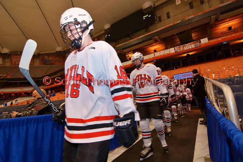 Baldwinsville Bees Carson Hayes (16)  and Charlie Bertrand (15)  walk out to play the Cicero-North Syracuse Northstars at the Carrier Dome in Syracuse, New York on Friday, November 21, 2014. Cicero-North Syracuse won 3-2 in overtime.
