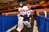 Baldwinsville Bees goalie Josh Smith (1) heads to the ice to play the Cicero-North Syracuse Northstars at the Carrier Dome in Syracuse, New York on Friday, November 21, 2014. Cicero-North Syracuse won 3-2 in overtime.