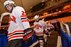 Baldwinsville Bees Matt Monaco (22) and Andrew Starrantino (25) walk out to play the Cicero-North Syracuse Northstars at the Carrier Dome in Syracuse, New York on Friday, November 21, 2014. Cicero-North Syracuse won 3-2 in overtime.