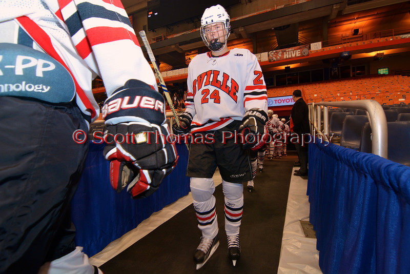 Baldwinsville Bees Andy Rossler (24) walks out to play the Cicero-North Syracuse Northstars at the Carrier Dome in Syracuse, New York on Friday, November 21, 2014. Cicero-North Syracuse won 3-2 in overtime.