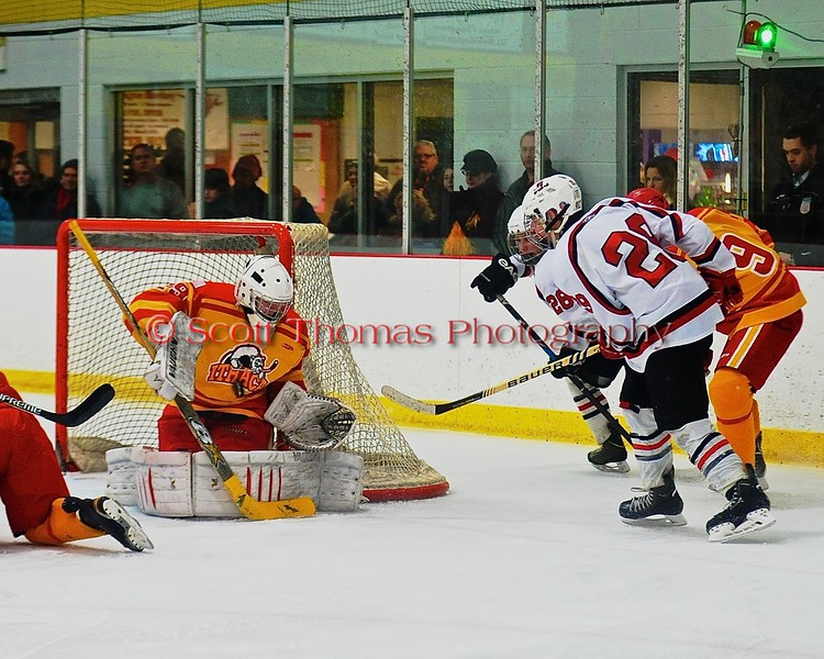Ithaca Little Red goalie Griffin Varricchio (29) makes a save on a shot by Baldwinsville Bees Matt Abbott (29) in a NYSPHSAA Ice Hockey Championship Regional Playoff game at The Rink in Ithaca, New York on Saturday, March 7, 2015.  Baldwinsville won 2-1..