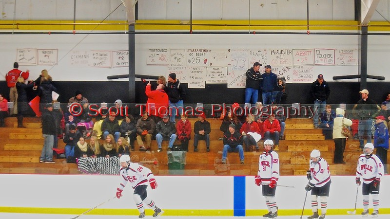 Baldwinsville Bees Boys Ice Hockey Booster Club making the team feel right at home before playing the Ithaca Little Red in a NYSPHSAA Ice Hockey Championship Regional Playoff game at The Rink in Ithaca, New York on Saturday, March 7, 2015.  Baldwinsville won 2-1..