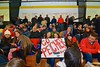 Baldwinsville Bees fans at the  NYSPHSAA Ice Hockey Championship Regional Playoff game against Ithaca Little Red at The Rink in Ithaca, New York on Saturday, March 7, 2015.  Baldwinsville won 2-1..