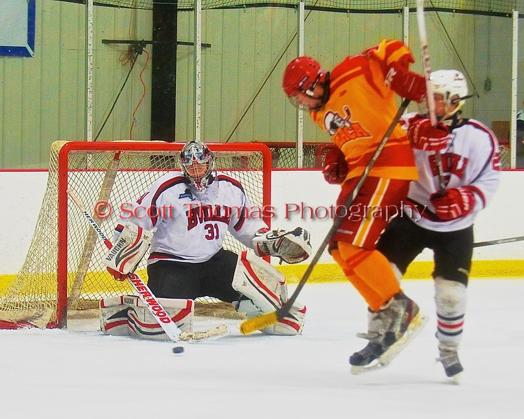 Baldwinsville Bees goalie Matt Sabourin (31) makes a stick save against Ithaca Little Red during the NYSPHSAA Ice Hockey Championship Regional Playoff game at The Rink in Ithaca, New York on Saturday, March 7, 2015.  Baldwinsville won 2-1.