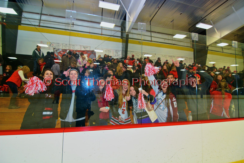 Baldwinsville Bees fans celebrate the 2-1 win over the Ithaca Little Red in a NYSPHSAA Ice Hockey Championship Regional Playoff game at The Rink in Ithaca, New York on Saturday, March 7, 2015.