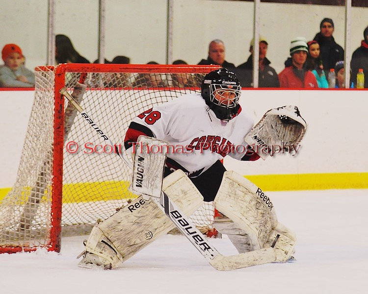 Syracuse Cougars Sam Walsh (28) in net against the Baldwinsville Bees at Meachem Ice Rink in Syracuse, New York on Friday, January 16, 2015.  Syracuse won 3-1.