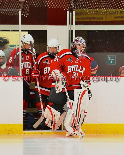 Baldwinsville Bees goalie Matt Sabourin (31) leads his team onto the ice before playing the Syracuse Cougars at Meachem Ice Rink in Syracuse, New York on Friday, January 16, 2015.  Syracuse won 3-1.