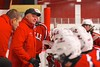 Baldwinsville Bees Head Coach Mark Lloyd talks to the Bees before playing the Syracuse Cougars at Meachem Ice Rink in Syracuse, New York on Friday, January 16, 2015.  Syracuse won 3-1.