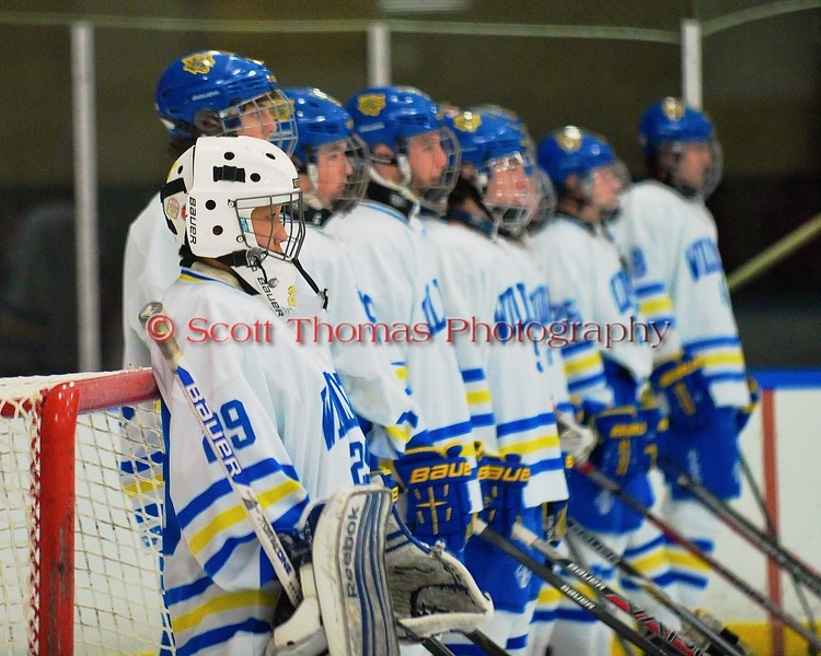 West Genesee Wildcats starting goalie Sammy Colabufo (29) before playing the Baldwinsville Bees at Shove Park in Camillus, New York on Friday, January 9, 2015. Game ended in a 3-3 tie.