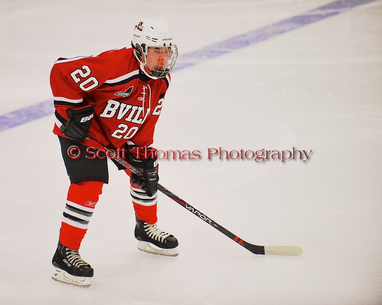 Baldwinsville Bees Ryan Gebhardt (20) awaiting a face-off against the West Genesee Wildcats at Shove Park in Camillus, New York on Friday, January 9, 2015. Game ended in a 3-3 tie.