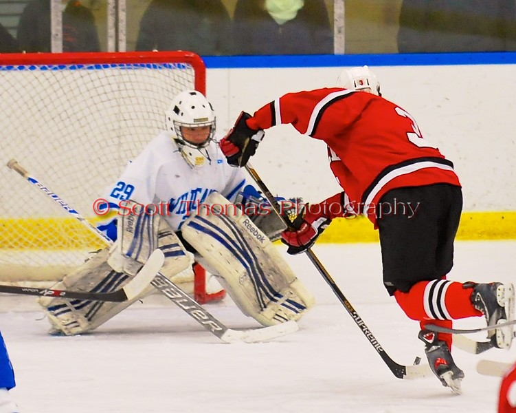 Baldwinsville Bees Alex Paterson-Jones (3) skates in on West Genesee Wildcats goalie Sammy Colabufo (29) at Shove Park in Camillus, New York on Friday, January 9, 2015. Game ended in a 3-3 tie.