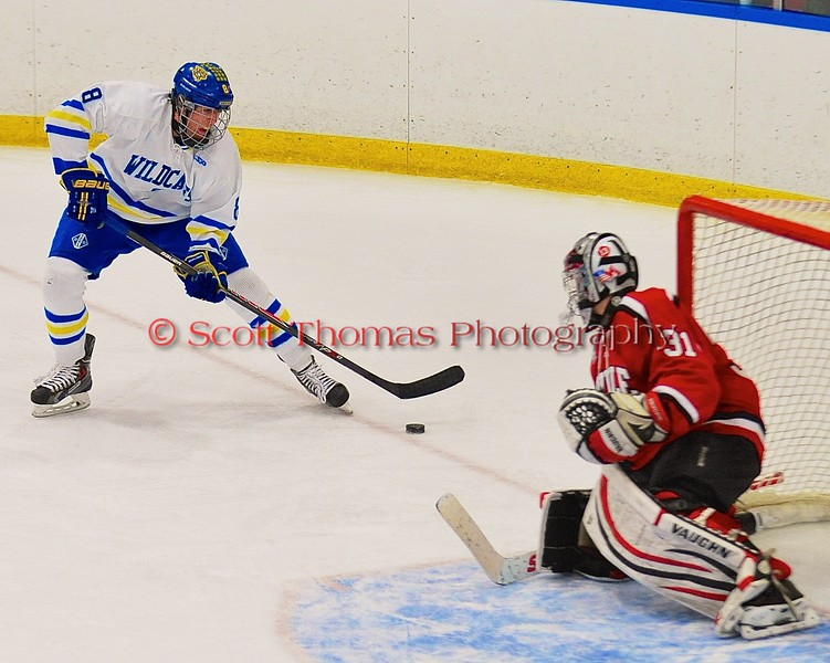 West Genesee Wildcats Ryan McDonald (8) lining up a shot at Baldwinsville Bees goalie Matt Sabourin (31) at Shove Park in Camillus, New York on Friday, January 9, 2015. Game ended in a 3-3 tie.