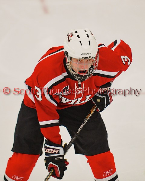 Baldwinsville Bees Alex Paterson-Jones (3) before a face-off against the West Genesee Wildcats at Shove Park in Camillus, New York on Friday, January 9, 2015. Game ended in a 3-3 tie.