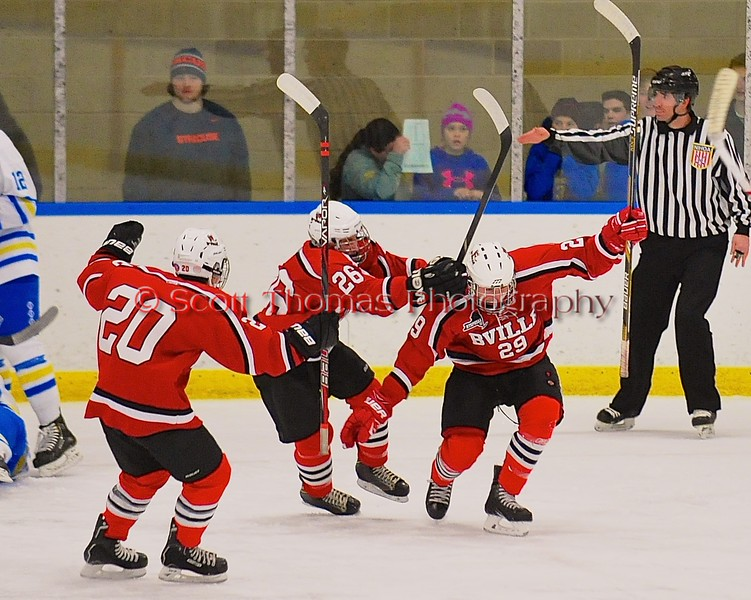 Baldwinsville Bees Matt Abbott (29) celebrates his goal against the West Genesee Wildcats to take a 1-0 lead in the first period at Shove Park in Camillus, New York on Friday, January 9, 2015. Game ended in a 3-3 tie.