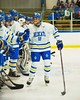 West Genesee Wildcats Matthew McDonald (12) being introduced before playing the Baldwinsville Bees at Shove Park in Camillus, New York on Friday, January 9, 2015. Game ended in a 3-3 tie.