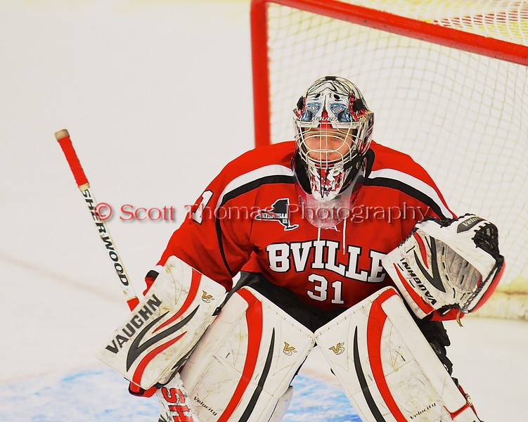 Baldwinsville Bees goalie Matt Sabourin (31) in net against the West Genesee Wildcats at Shove Park in Camillus, New York on Friday, January 9, 2015. Game ended in a 3-3 tie.