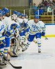 West Genesee Wildcats Ryan McDonald (8) being introduced before playing the Baldwinsville Bees at Shove Park in Camillus, New York on Friday, January 9, 2015.